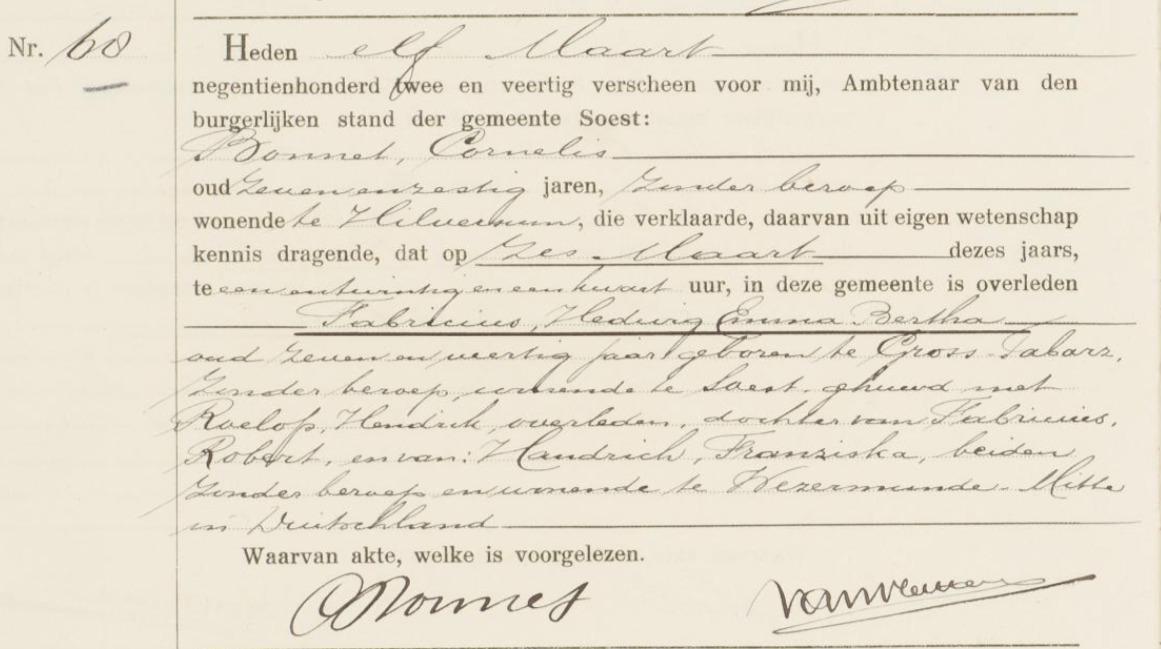 death-certificate_ Hedwig-Emma-Bertha-Fabricius